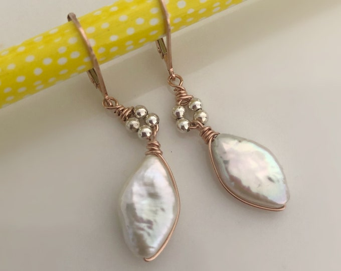 White Pearl Earrings with Sterling Silver Beads and 14k Rose Gold Filled Lever Back Ear Wire, Rose Gold Earrings for Women