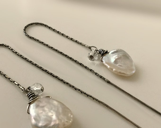 Handcrafted Sterling Silver Threader Earrings with Keishi Pearl and faceted Quartz Crystal