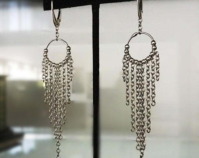 Handcrafted Sterling Silver Dream Catcher Hoop Earrings