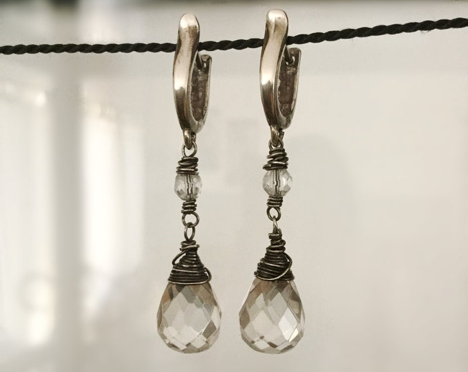 Handcrafted Wire-Wrapped Sterling Silver Faceted Quartz Crystal Drop Earrings