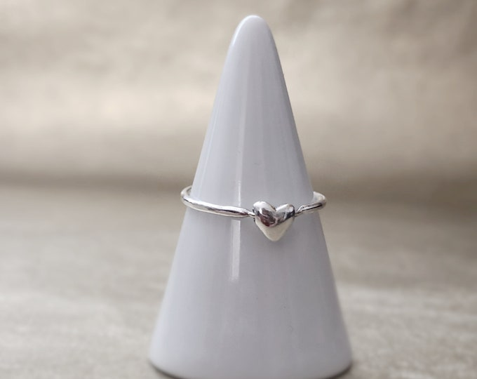 Tiny Handcrafted  Sterling Silver Spinning Heart Ring