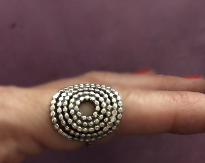 Custom Made Fabulous Large Handcrafted Solid Sterling Silver Mandala Ring, All Sizes