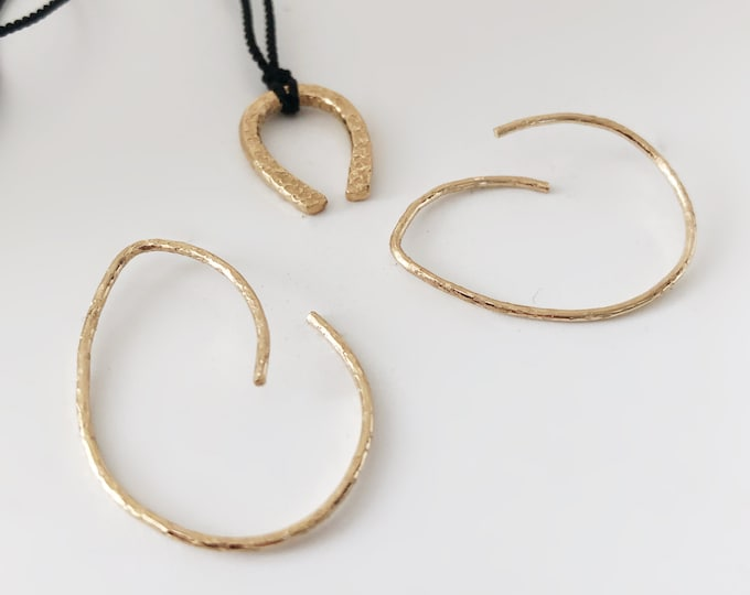 Handcrafted 14k Goldfilled 18Gauge Textured Hoop Earrings