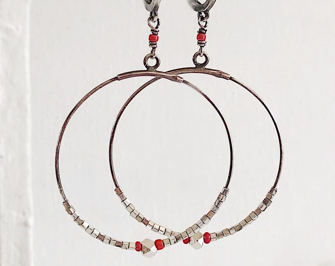 Sterling Silver Hoop Earrings with Hilltribe Silver and African Christmas Beads