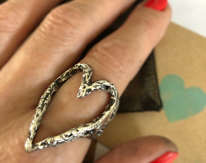 Large Handcrafted Sculptured Solid Sterling Silver Open Heart Ring