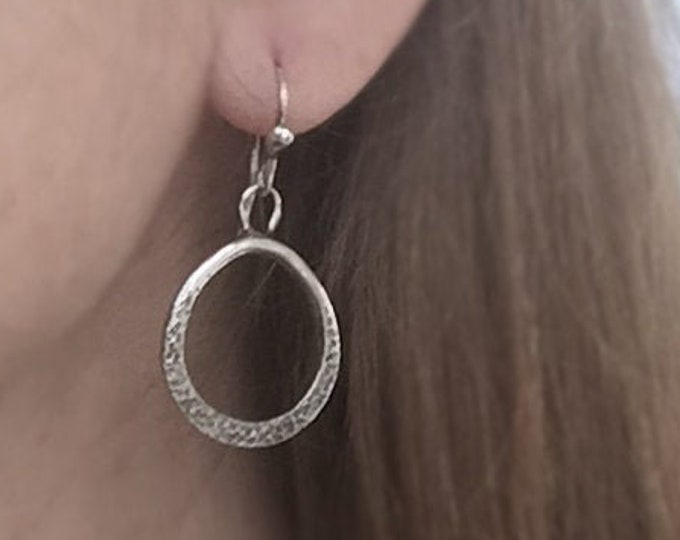 Handcrafted One of a Kind Solid Sterling Silver Textured Drop Earrings