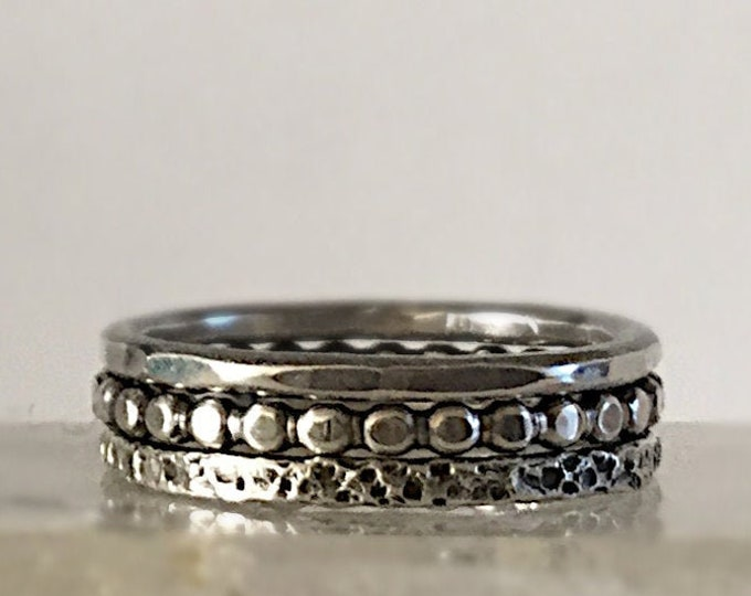 Handcrafted Sterling Silver Stacking Ring Set with 3 Textures, 2.2mm