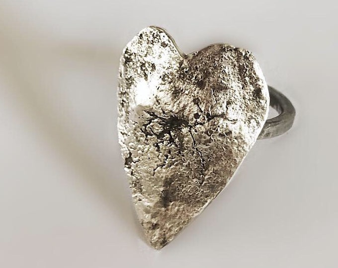 Handcrafted Sterling Silver Heart Shield Ring One of a Kind