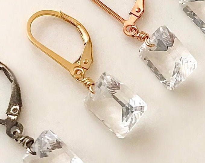 Small Quartz Crystal Lever Back Drop Earrings in 14k GoldFilled, Sterling Silver Crystal Quartz Earrings for Girls and Women