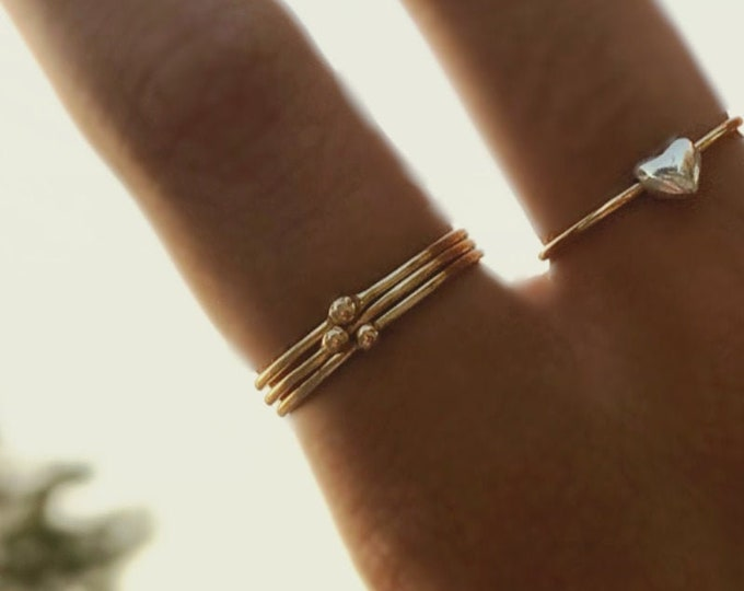 14k Solid Yellow Gold 1mm Skinny Stacking Rings /Midi Rings Handcrafted with Solid 14k Gold Ball