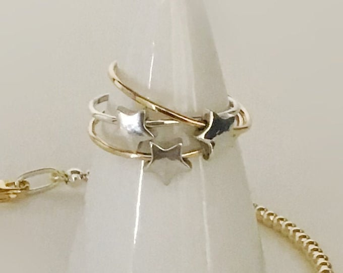 Handcrafted Sterling Silver/ 14k Yellow Gold Spinning Star Ring, All Sizes