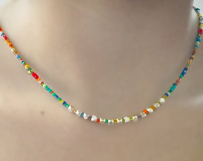 Colorful Necklace with Hill Tribe Silver and African Christmas Beads