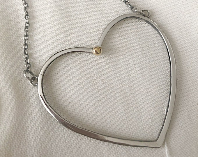 Large Handcrafted Open Heart Necklace with Solid 14k Yellow Gold Pebble
