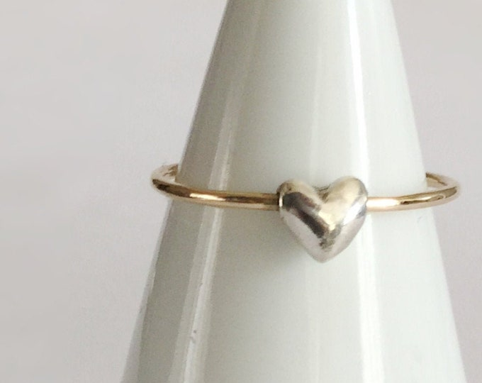Solid 14karat Yellow Gold Skinny Ring with Tiny Sterling Silver Heart