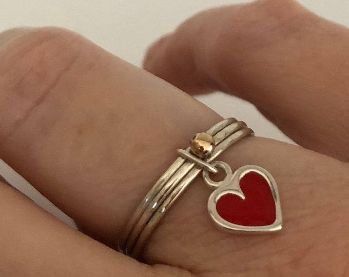 Silver Heart Ring with 14k Gold Ball, All Sizes