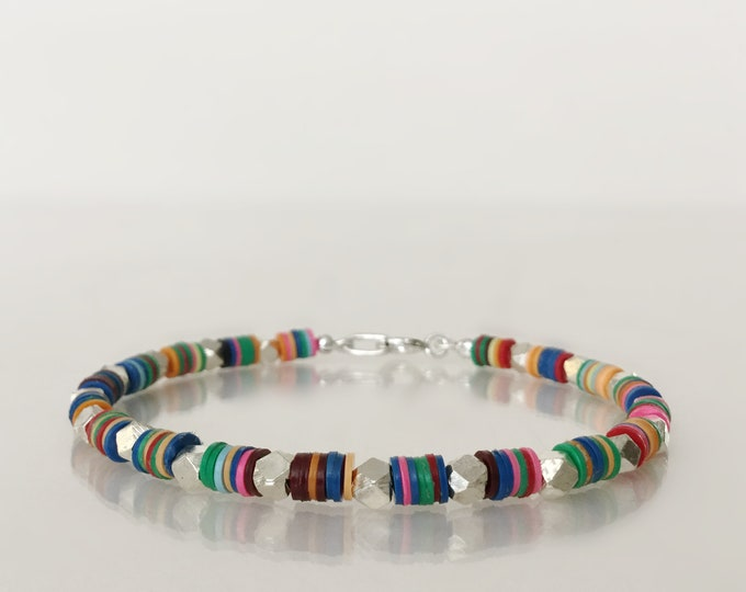 Stacking Bracelet with Hill Tribe Silver and African Vinyl