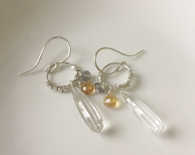 Handcrafted Sterling Silver Earrings with Faceted Clear Crystal Quartz, Citrine, Labradorite and Hill Tribe Silver
