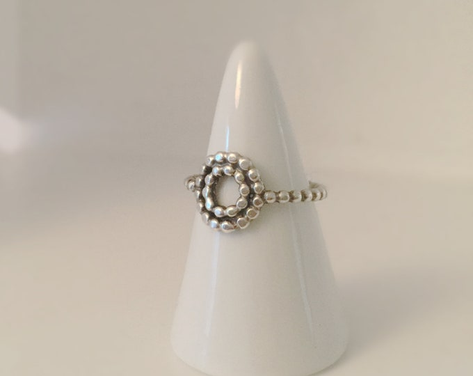 Small Handcrafted Sterling Silver Mandala Ring