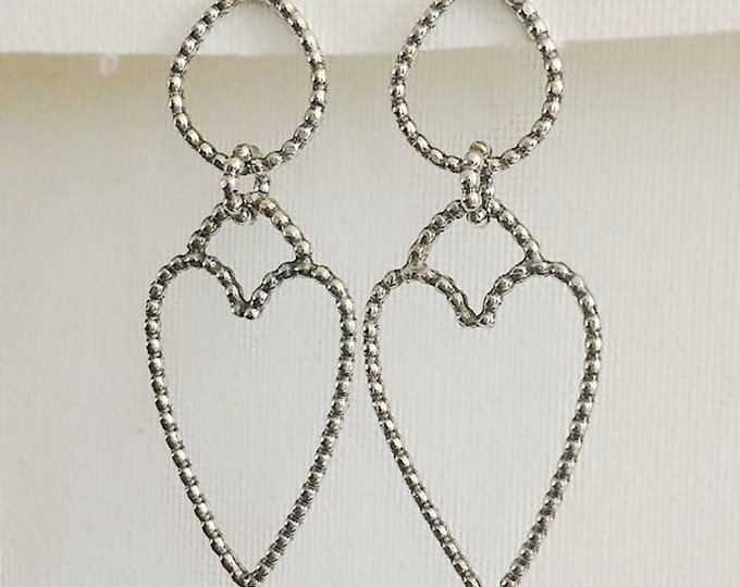 Large Handcrafted Sterling Silver Statement Heart Earrings with Beaded Sterling Silver 2.2mm