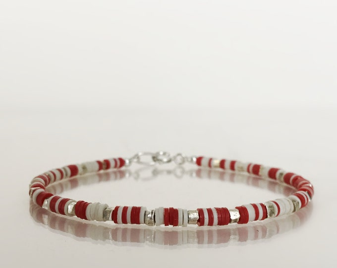 Stacking Bracelet with Hill Tribe Silver and African Vinyl Beads