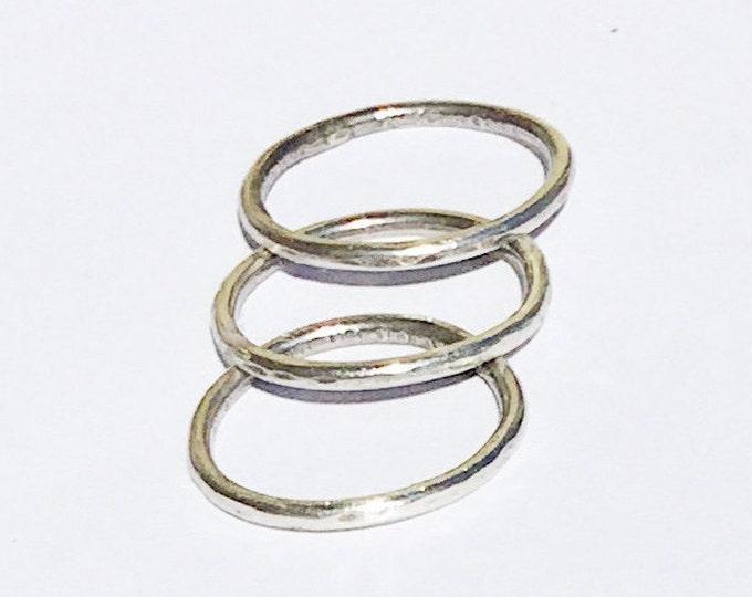 Set of 3 Hammered Sterling Silver Ring Bands