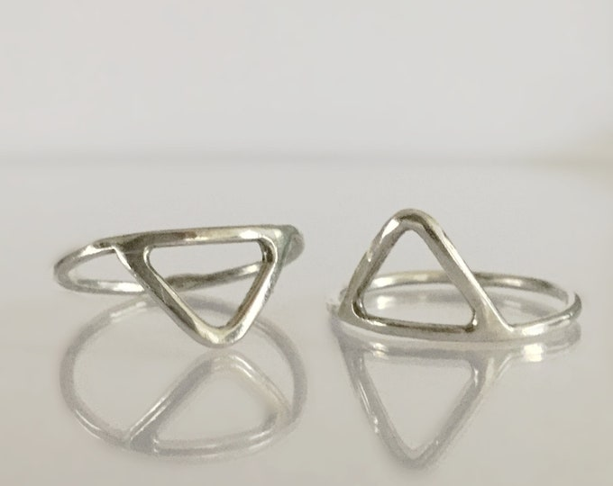 Sterling Silver Triangular Stacking Ring Set