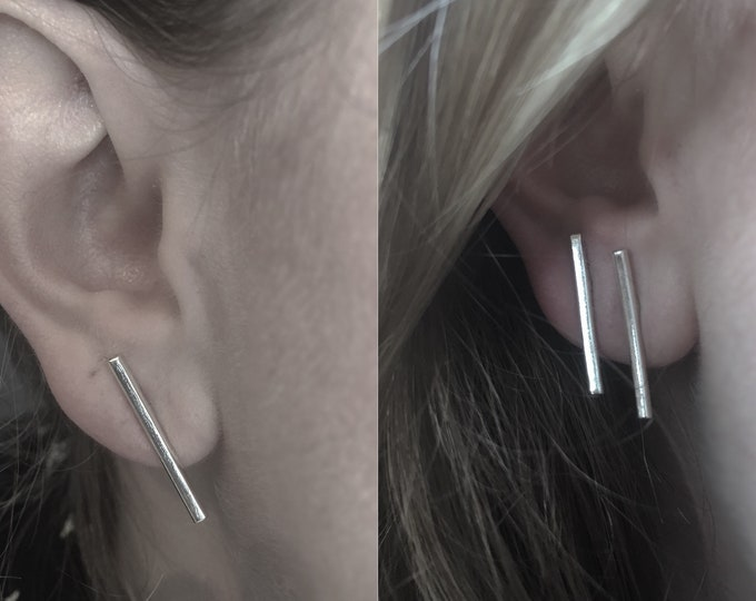 Handcrafted Sterling Silver Minimalist Bar Earrings