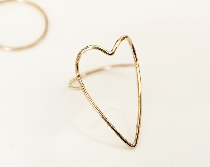Delicate Handcrafted 14k Yellow Gold Filled Heart Ring