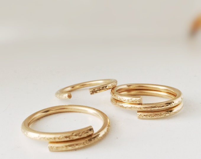 Handcrafted 14k Goldfilled 12Gauge Open Ring Bands with Texture