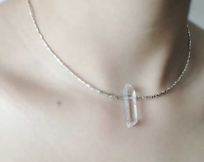 Handcrafted Choker with Polished Quartz Crystal and Hill Tribe Silver