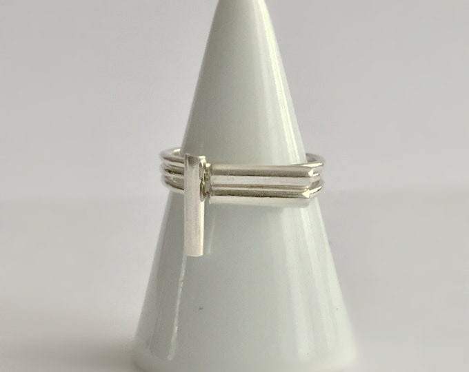 Sterling Silver Triple Bar Stacking Ring Set