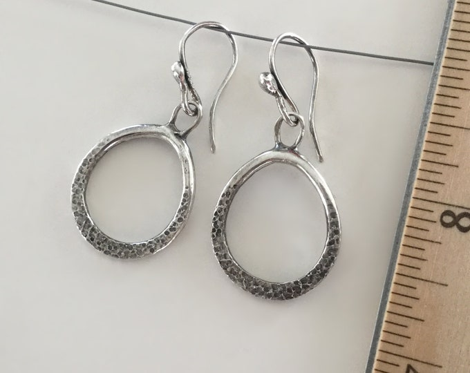 Handcrafted Solid Sterling Silver Textured Drop Earrings