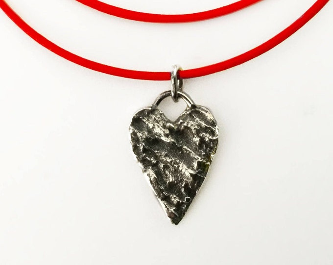 Textured Sterling Silver Heart on Red Leather