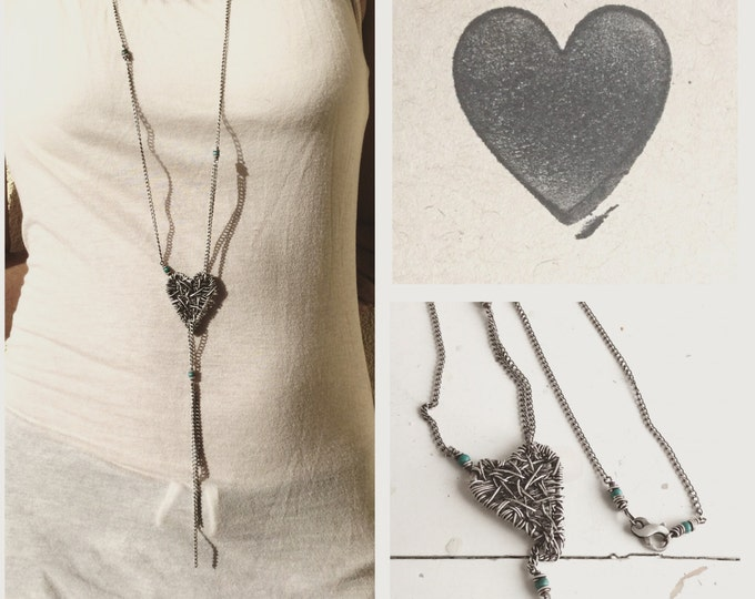 Sterling Silver Heart Necklace Wire Wrapped