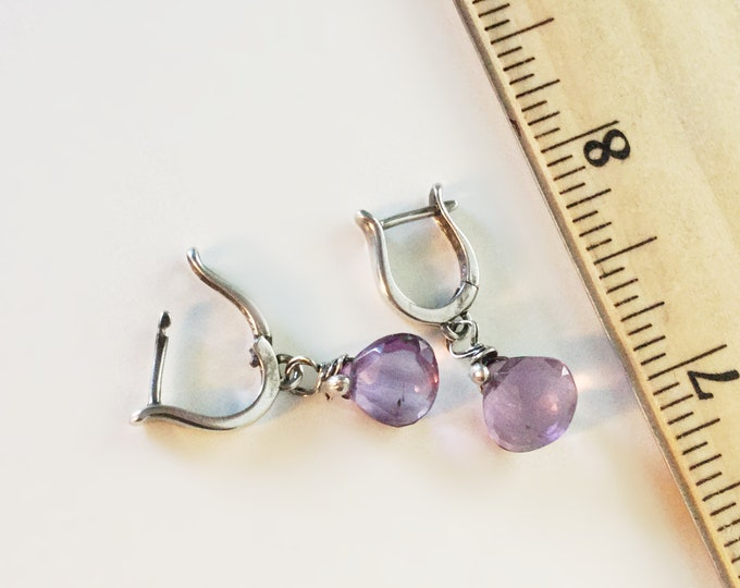 Handcrafted Sterling Silver Amethyst Drop Earrings