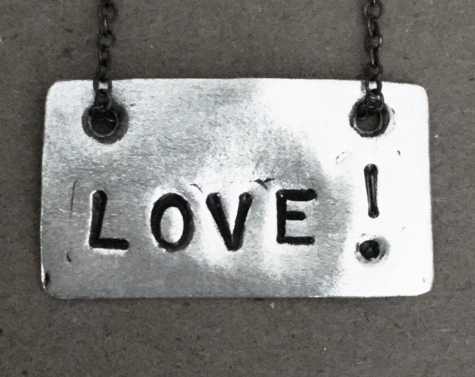 Sterling Silver LOVE! tag necklace
