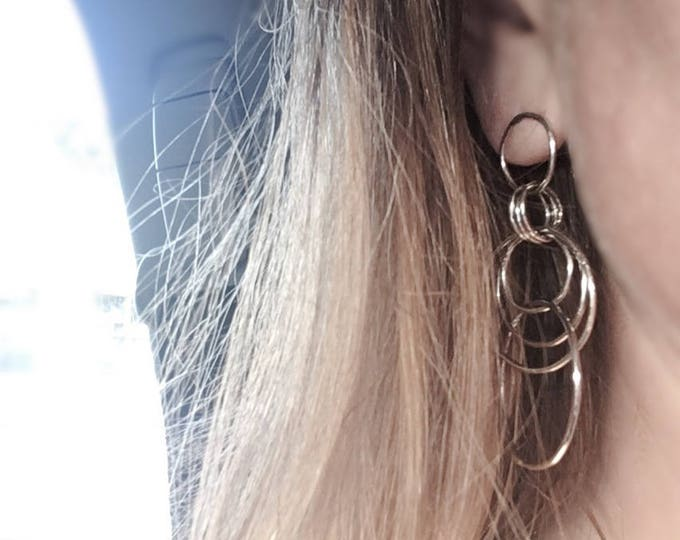 Large Sterling Silver Dangeling Hoop Earrings