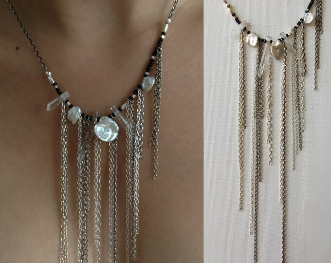 Handcrafted Sterling Silver Necklace with Hill Tribe Silver Beads and Keishi Pearls