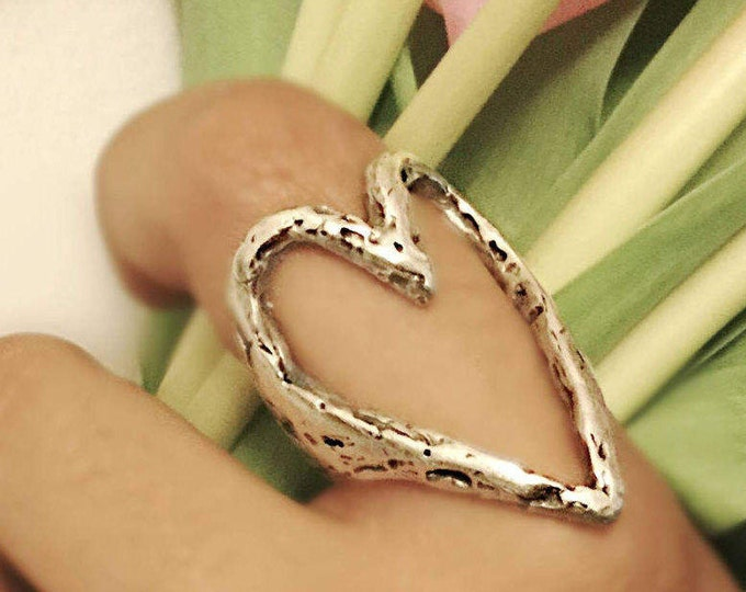 Large Sculptured Solid Sterling Silver Heart Ring