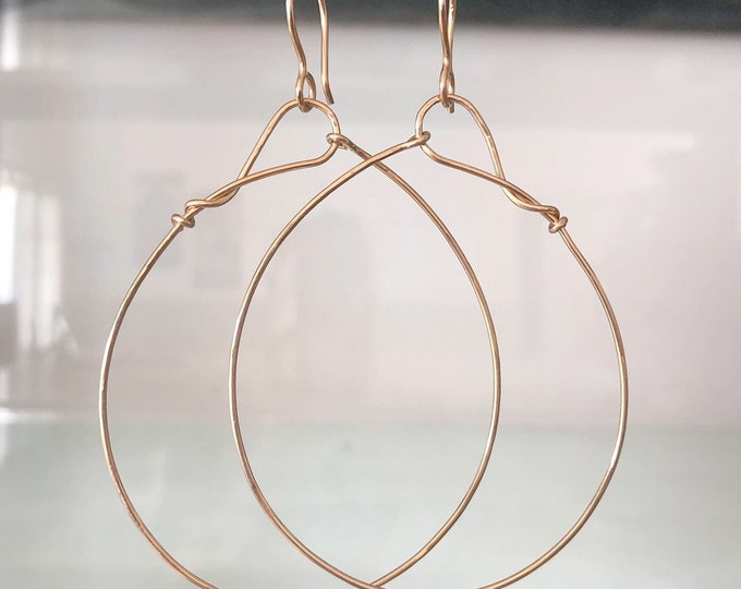 Large Handcrafted 14k Yellow Gold Hoop Earrings