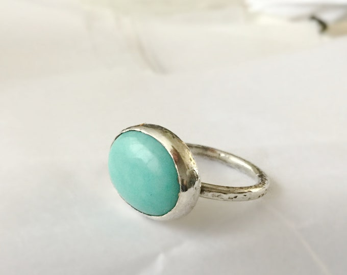Handcrafted Sterling Silver Ring with Mexican Turquoise Size 7