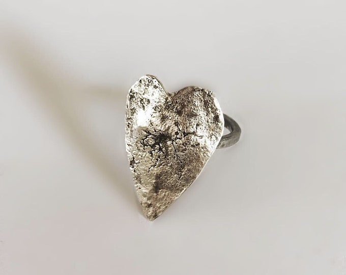 Handcrafted Sterling Silver Heart Shield Ring