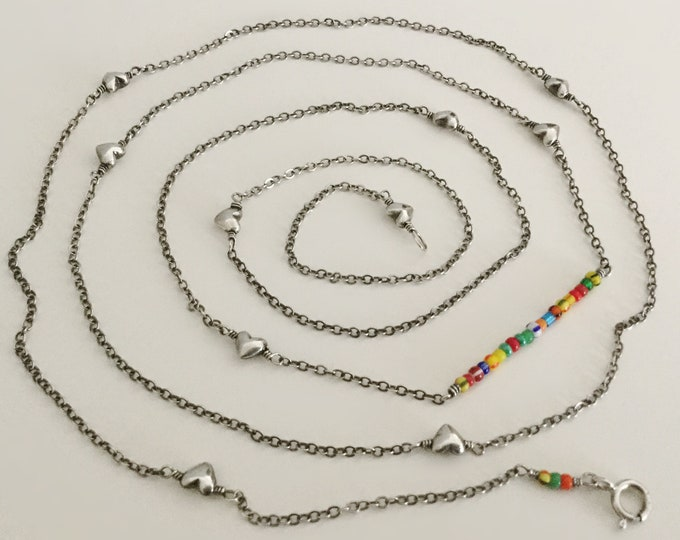 Maxi Sterling Silver Heart Chain with African Christmas Beads Accent