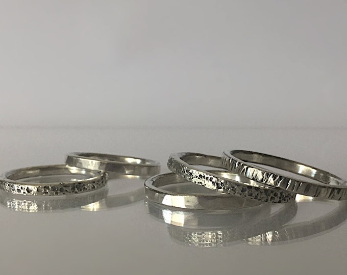 Sterling Silver Unisex Textured Stacking Ring Bands