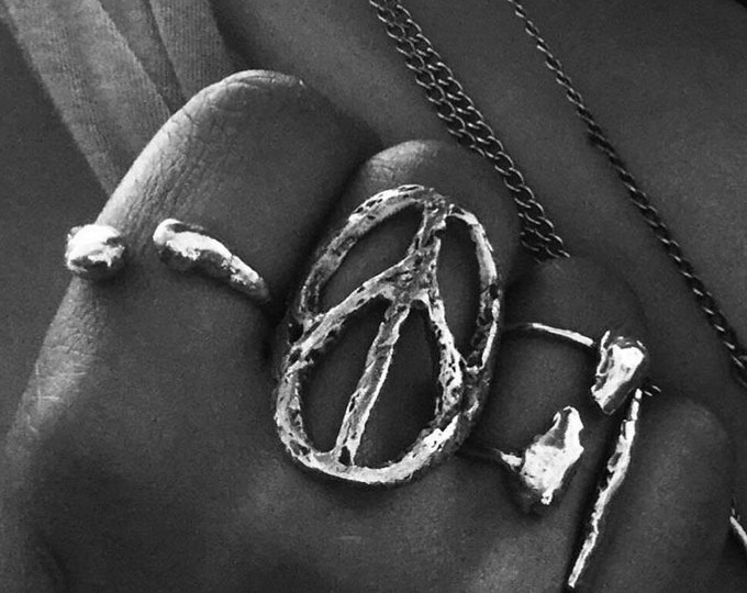 Large Solid Sterling Silver Sculptured Peace Ring