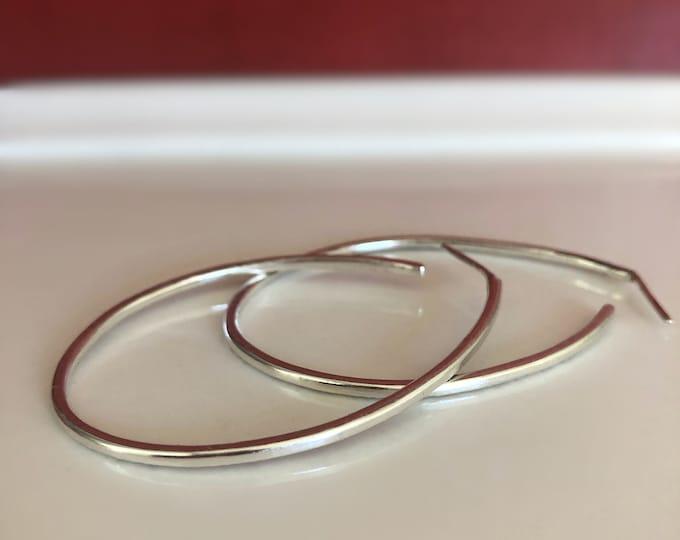 Large Handcrafted Sterling Silver Hoop Earrings