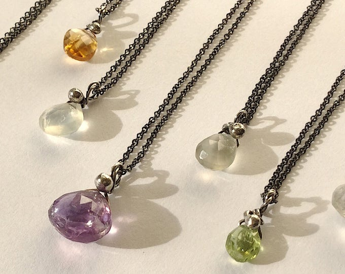 Little Gemstone Drop Necklace with Sterling Silver