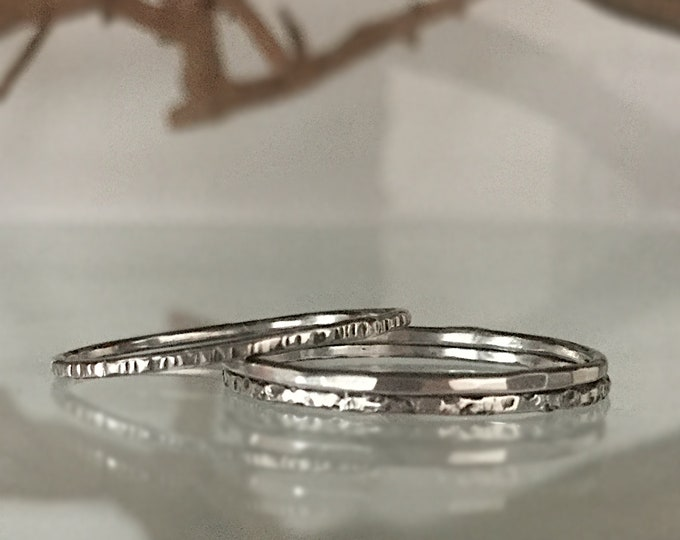 Handcrafted Sterling Silver Super Skinny Stacking Ring Set with Texture