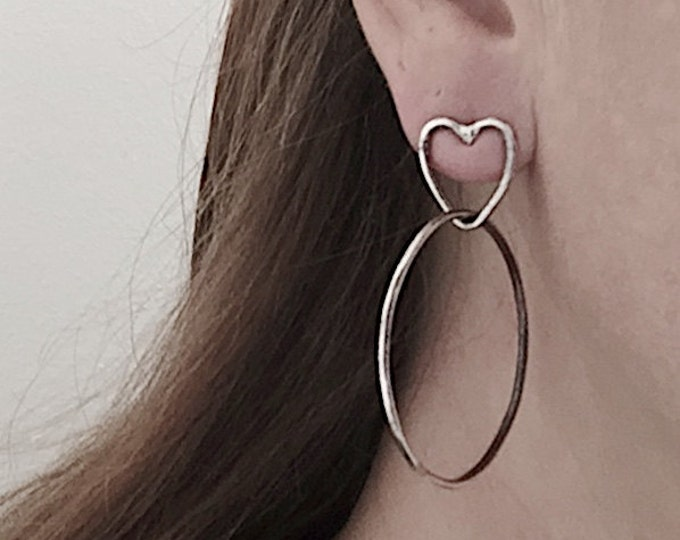 Large Handmade Sterling Silver Hoop Earrings with Heart Studs