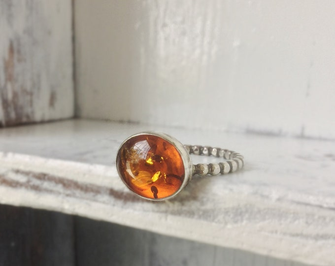 Handcrafted Sterling Silver Ring with Amber